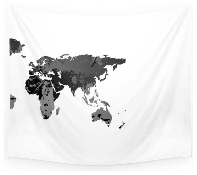 Black and white world map tapestry