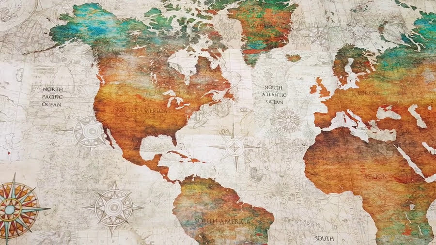 Fabric world map