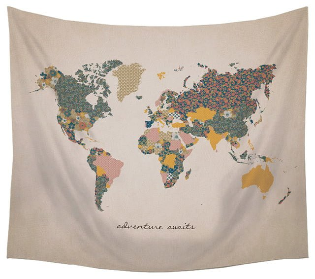 Fabric world map wall hanging