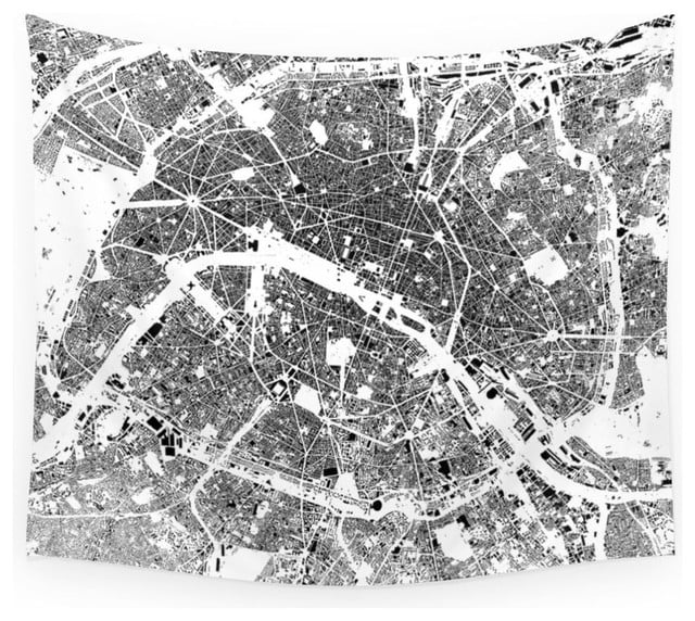 Large Paris map tapestry