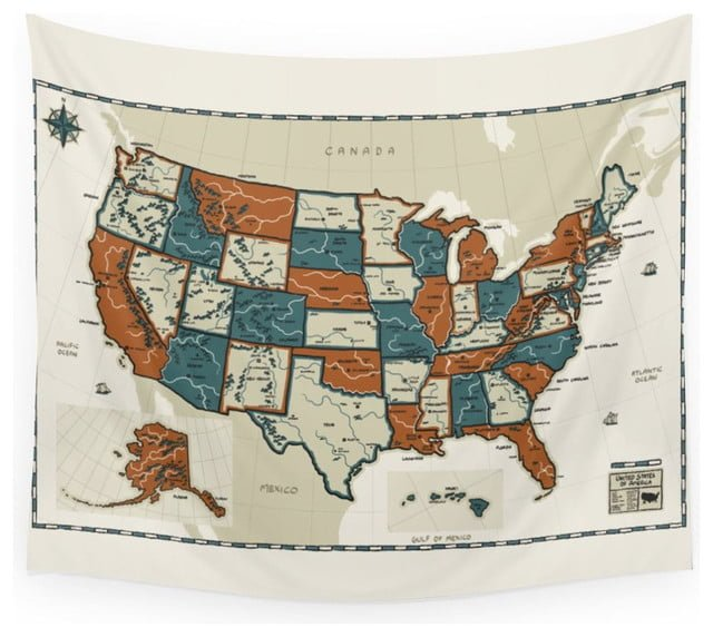 Large USA map tapestry