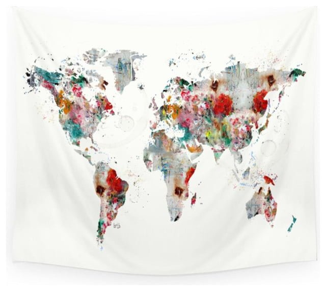 Small world map tapestry