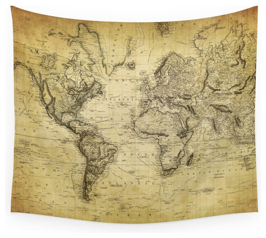 Tan world map tapestry