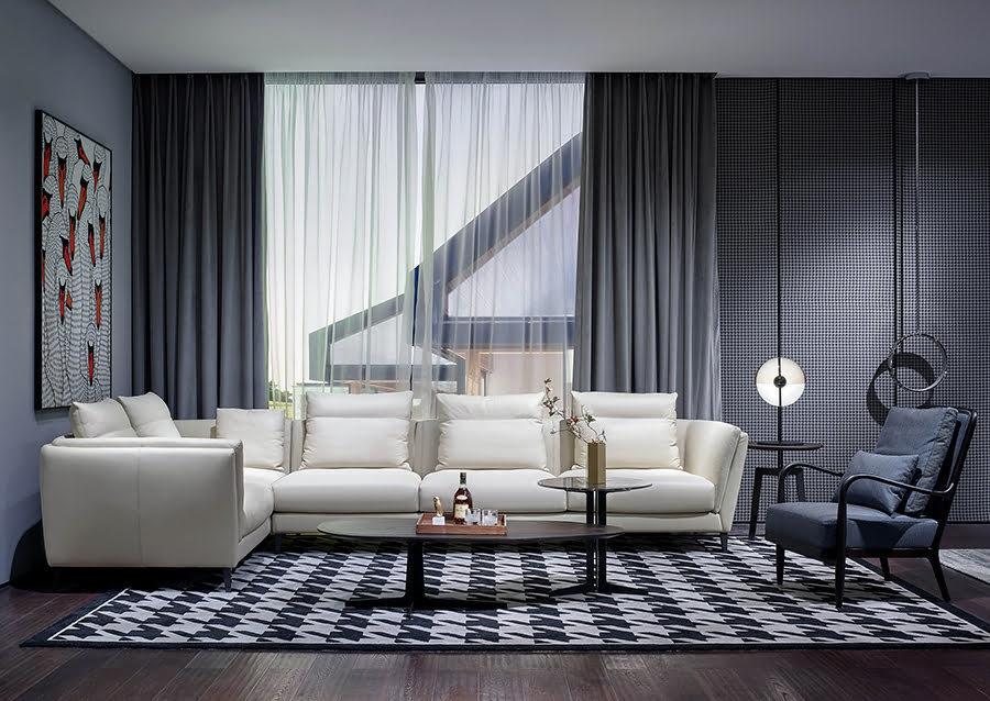 Grey Wall Black Curtains