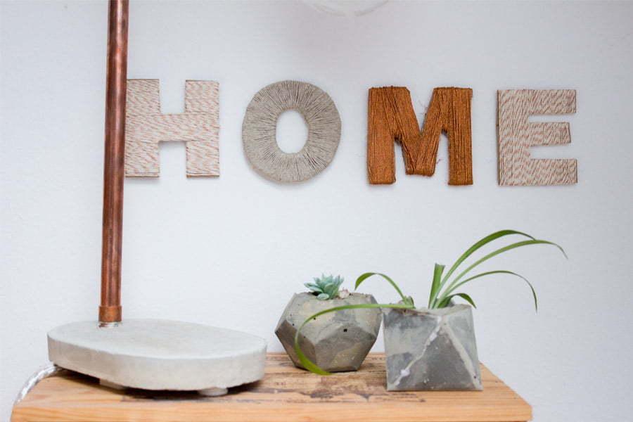 DIY cardboard wall letters