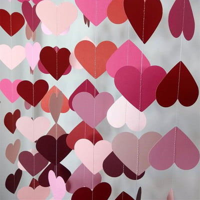 paper heart garland closeup
