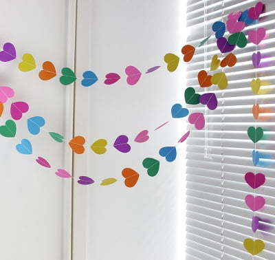 multi-color heart garland