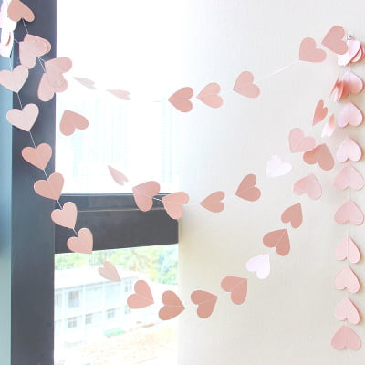 paper heart garland gold